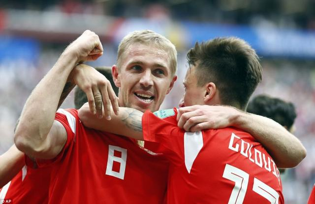 Yuri Gazinsky made history when he scored the opening goal of the 2018 World Cup to put Russia ahead against Saudi Arabia