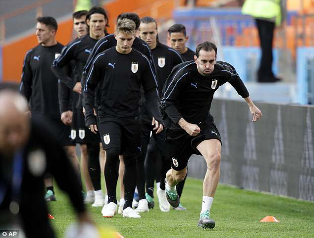 Uruguay trained  at the Ekaterinburg Stadium - where the game will take place - on Thursday