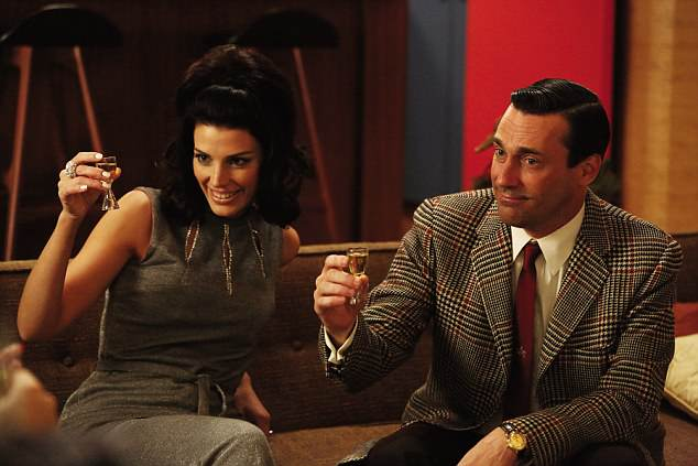 Has the modern world become so dangerous that we need to make ourselves 'safe' every moment of the day? Pictured:Mad Men with Jessica Paré as Megan Draper and Jon Hamm as Don Draper
