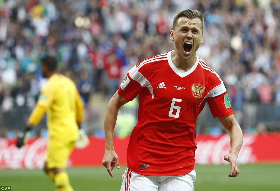 Cheryshev was seen roaring with delight after make it 2-0 to the European outfit at theLuzhniki Stadium on Thursday
