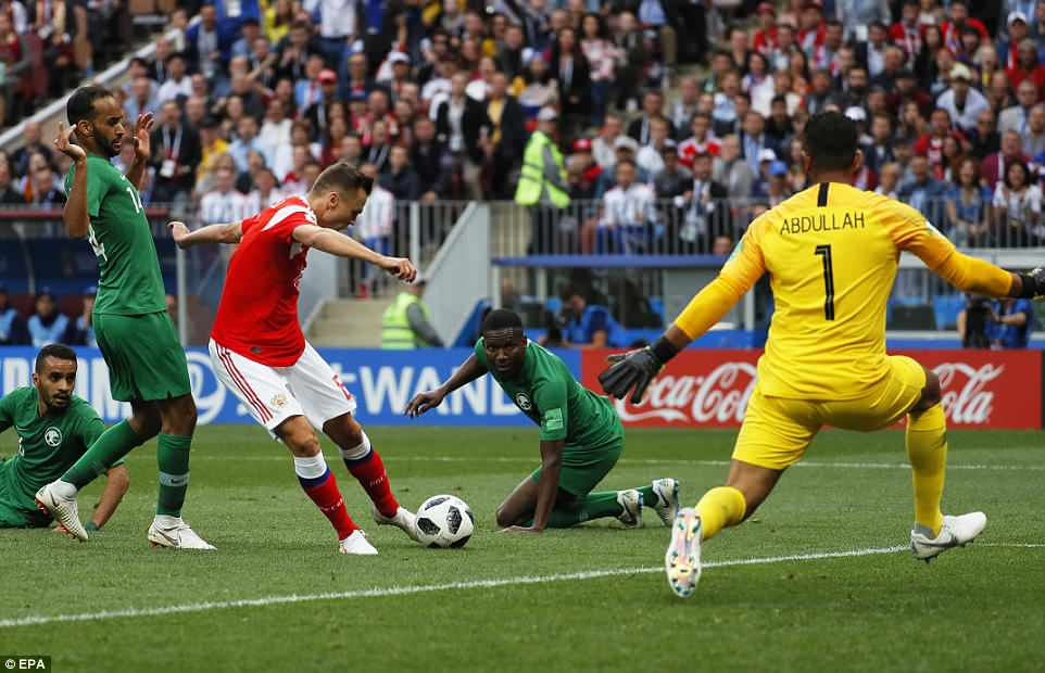 Just before half-time Russia doubled their lead when Denis Cheryshev fired home on 43 minutes