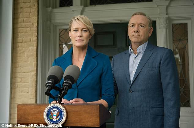 Am I missing something here? Actors are the most touchy-feely people on the planet. Pictured:House of Cards with Robin Wright as Claire Underwood, Kevin Spacey as Francis Underwood