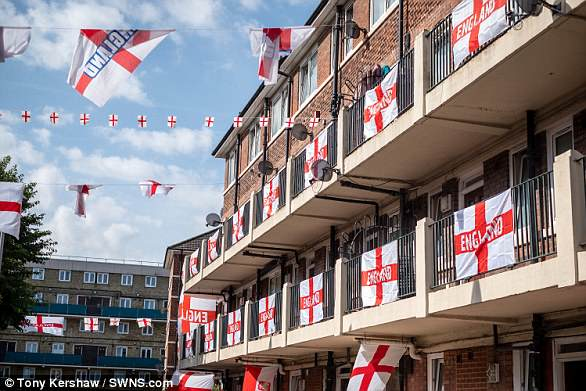 Top to bottom: The Kirby Estate is decked in dozens of England flags for the tournament