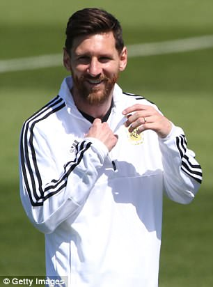 Lionel Messi during World Cup training with Argentina