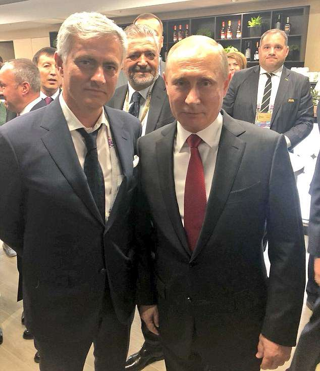 Mourinho, pictured with Vladimir Putin, is working as a pundit for state channel Russia Today