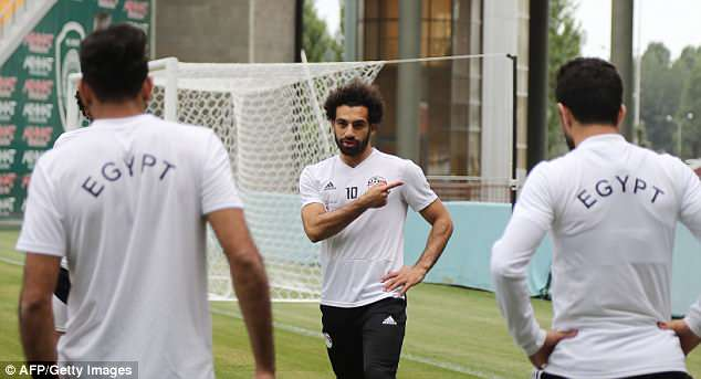 Salah was seen apparently pointing at his left shoulder in Egypt's training session on Saturday