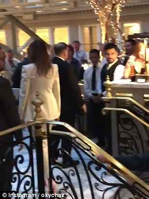 Melania was seen walking up the stairs ahead of Trump