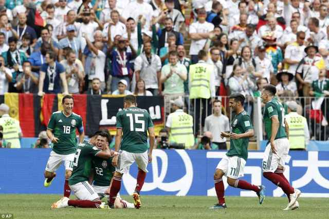 Lozano celebrates with his Mexico team-mates after breaking the deadlock in the first half of the World Cup Group F match