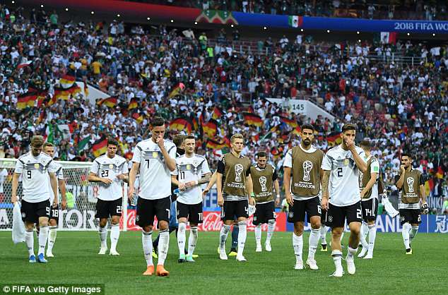 Germany players look dejected following their side's defeat to Mexico on Sunday evening