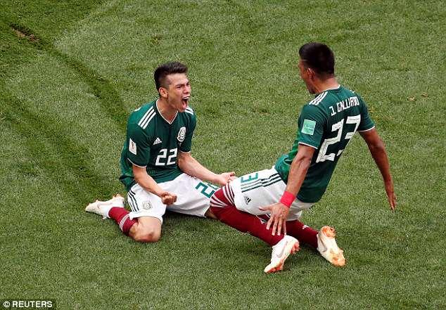 Hirving Lozano (left) celebrates scoring Mexico's winning goal with Jesus Gallardo