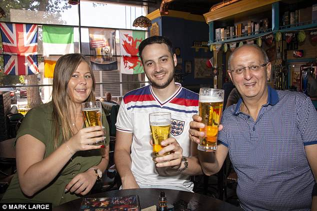 England fans  in Volgograd, with some were enjoying the beer at the Harat's Pub in the city