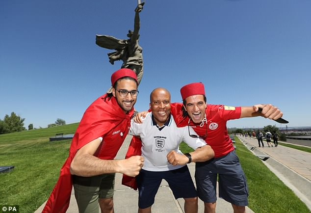 England fan Billy Grant with Tunisia fans at in Volgograd today