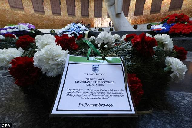 A tribute on the wreath laid by Mr Clarke at the memorial this morning