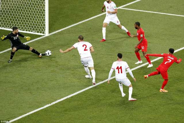 England came roaring out of the blocks and were it not for Mouez Hassen's big toe, Jesse Lingard would have put them ahead
