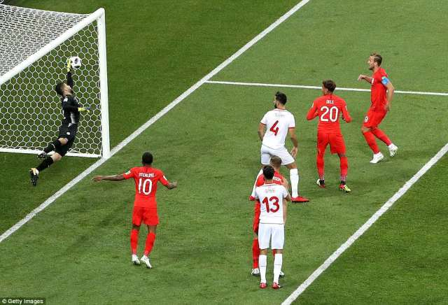 The Tunisia stopper managed to keep the ball out after an incredibly acrobatic save, but the ball fell to the England skipper