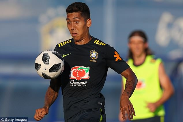 Roberto Firmino controls the ball during a training session at Yug-Sport Stadium in Sochi