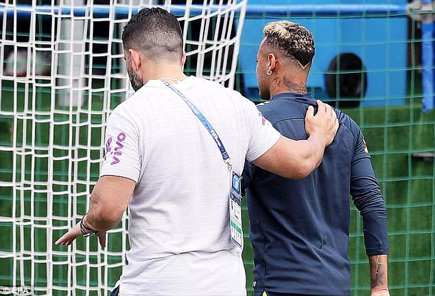 The pain appeared to be too much for Neymar to take and he was escorted from training
