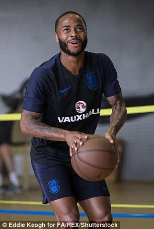 Raheem Sterling plays basketball