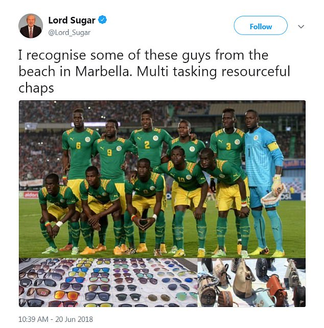 Apprentice host Lord Sugar tweeted a picture of the Senegal World Cup team, edited to include handbags and sunglasses laid out on sheets