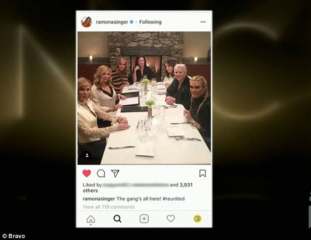 Bad move: Ramona posted pictures of the ladies from the dinner the night before and Luann is upset as she is required to keep a low profile from her arrest
