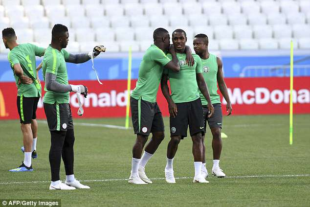 Odion Ighalo (second right) will be hoping to get off the mark this tournament against Iceland