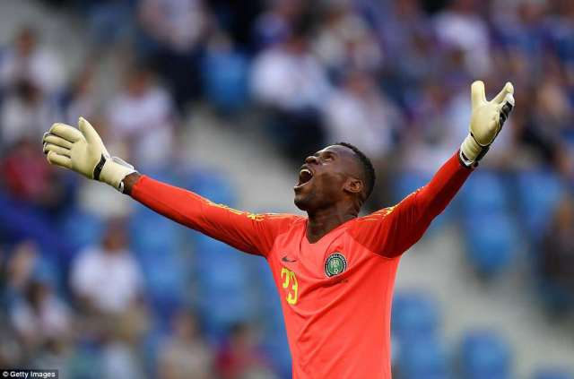 GoalkeeperFrancis Uzoho of Nigeria celebrates after Musa scored the team's first goal of the Group D match inVolgograd