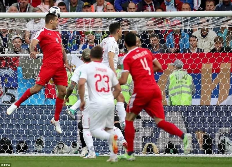 Aleksandar Mitrovic headed Serbia ahead after just five minutes against Switzerland following a good cross from Dusan Tadic