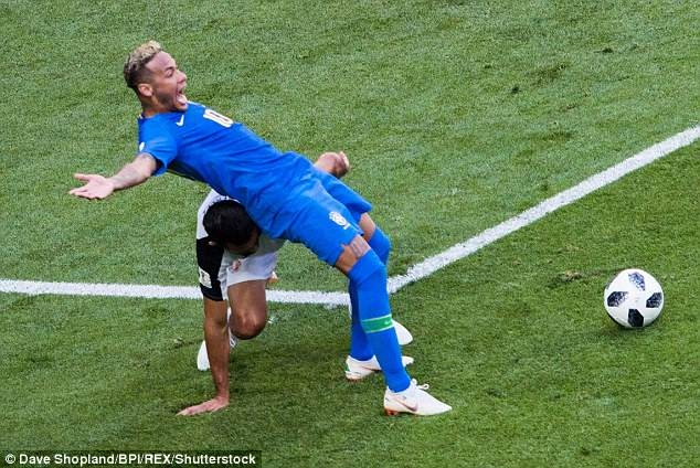 Neymar went down under the slightest of challenges from Costa Rica's Giancarlo Gonzalez