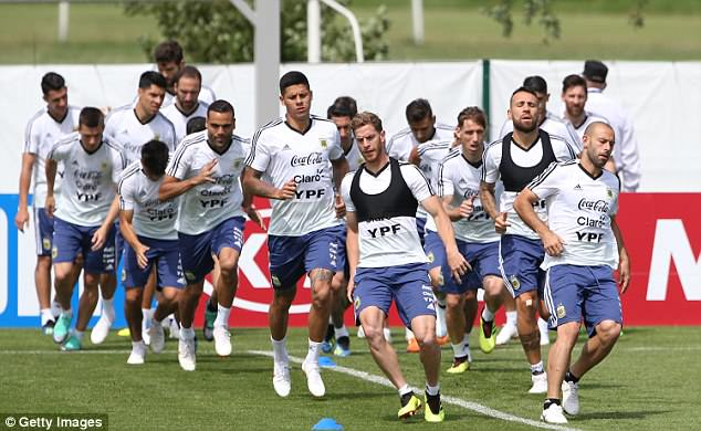 The Argentina squad trained with renewed hope after being given a lifeline to progress