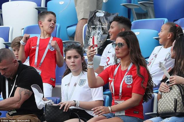 Rebekah Vardy takes a picture during England's rout of Panama at the Nizhny Novgorod Stadium in Russia today
