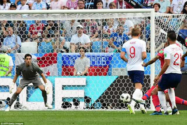 Harry Kane completes his hat-trick as Ruben Loftus-Cheek's shot deflects in off the captain in the World Cup