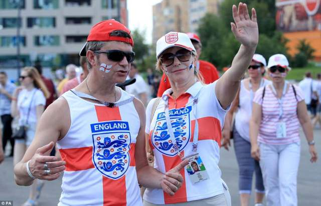 England fans gather at the stadium ahead of a Sunday afternoon kick-off against Panama in their second World Cup match