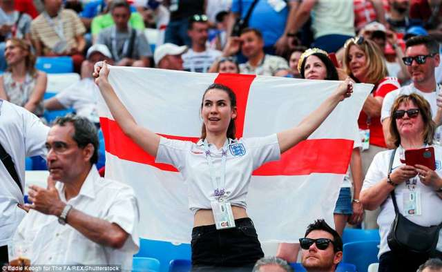 England fans cheer in the stands before kick-off as the Three Lions take on Panama on Sunday afternoon in Russia