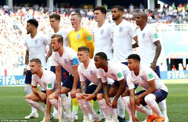 The England team line up for their Group G match against Panama at the Nizhny Novgorod Stadium today