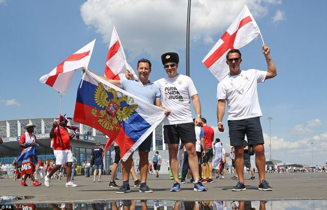 England fans gather outside the stadium in Nizhny Novgorod before Gareth Southgate's side take on Panama