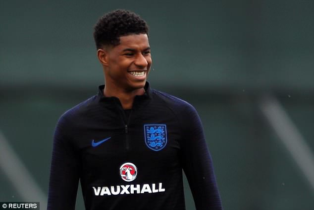 Striker Marcus Rashford looked to be in high spirits during the session in St Petersburg