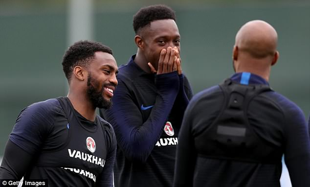 Danny Welbeck joked around with Tottenham defender Danny Rose and Delph