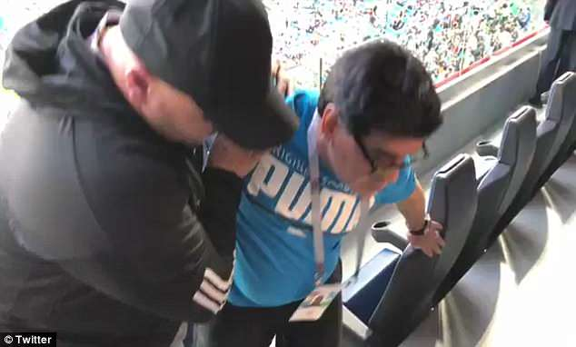 Video later emerged of Maradona - unsteady on his feet - being helped into the VIP area