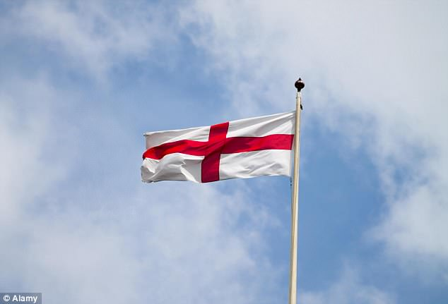 Mrs May declared that the St George flag (pictured) will fly above Downing Street for matches