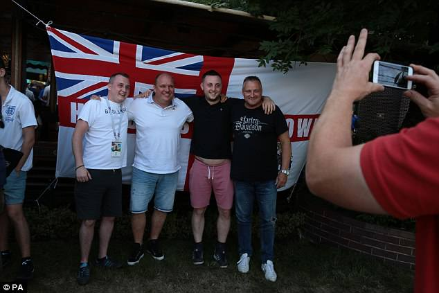 England fans in a bar in Kaliningrad yesterday ahead of the match against Belgium tonight