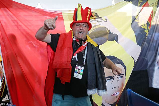 A Belgium fan in a bar in Kaliningrad, as supporters prepare for the Group G decider tonight