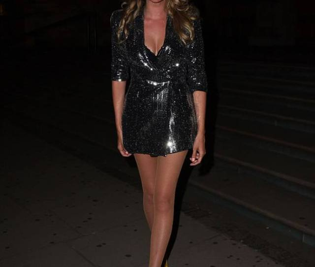 Sensational In Sequins Nadine Coyle Showed Off Her Legs In Sequin Blazer Dress And Bright