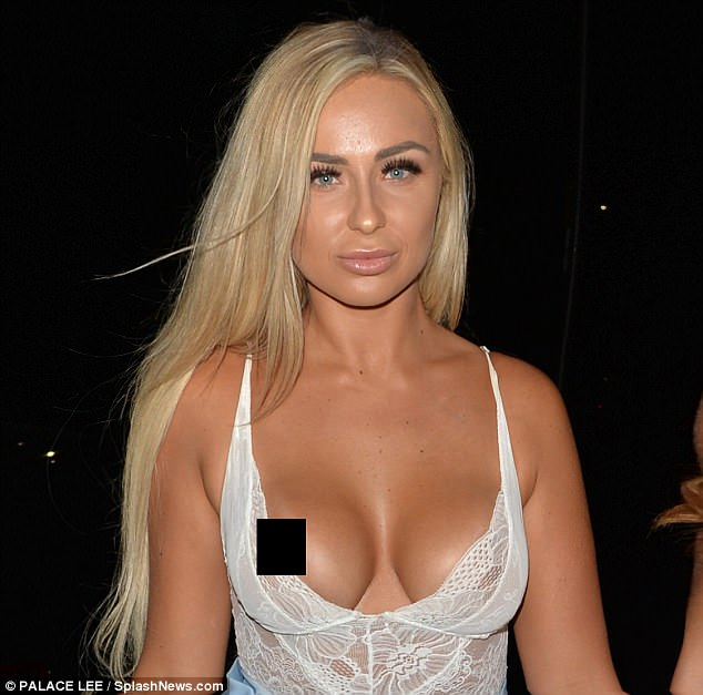 Awkward! Survival Of The Fittest star Georgia Cole, 25, suffered a wardrobe malfunction while on a night out with fellow ITV star Georgie Clarke in Essex on Friday