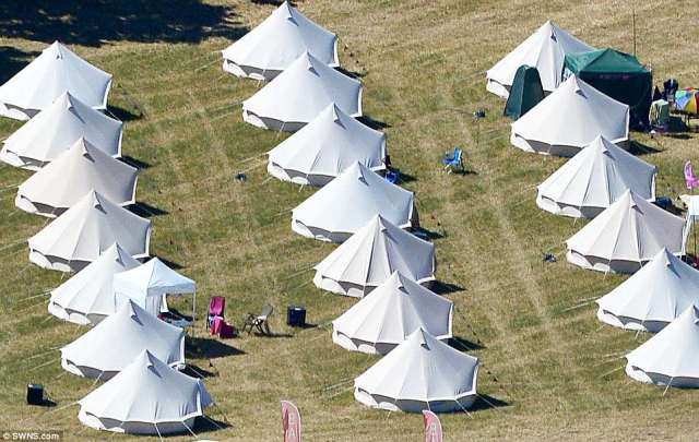 An aerial view of the site of Europe's biggest sex festival, Swingfields, which is entering its second day