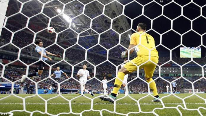 Cavani hung in the air as he got his body in position to head the ball past Portugal goalkeeper Rui Patricio who had no chance