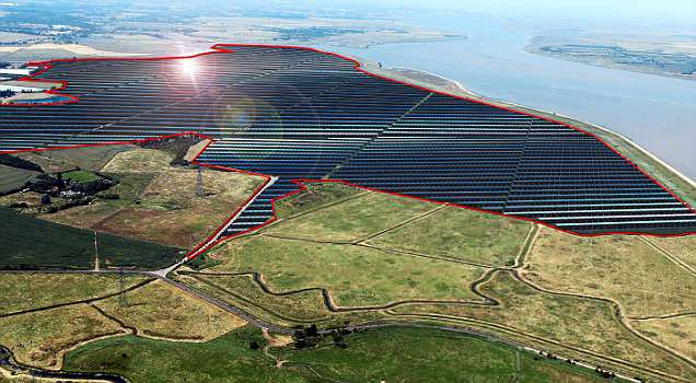 989,000 solar panels - each on the height of a double decker bus will cover an area equivalent to 600 football pitches. Pictured: An artist impression of what the site would look like