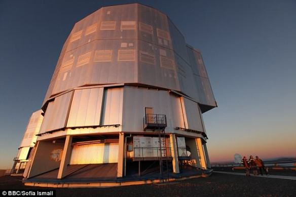 The newborn world was snapped using the ESO's Very Large Telescope (pictured) in Chile's Atacama desert and is thought to be 370 light years from Earth. It filtered out the signals of other celestial bodies to make the discovery possible