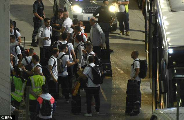 Spain's players arrived back in Madrid late on Monday evening following their World Cup exit