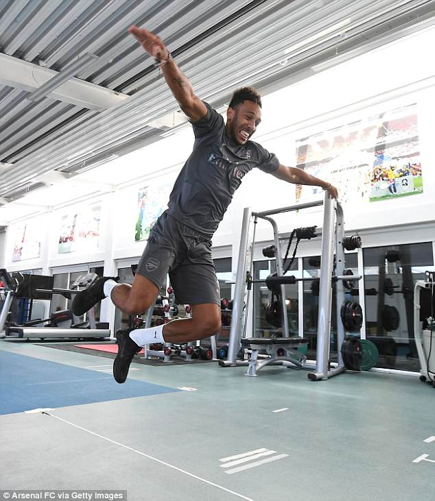 Striker Pierre-Emerick Aubameyang completes a standing jump to mark his spring