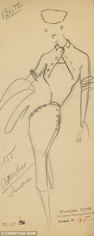 A sketch for theAutumn-Winter 1950 collection
